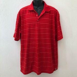 Nike Golf FitDry Red White Striped Polo Shirt XL